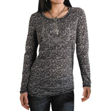 Roper Five Star Starry Night Burnout Shirt - Long Sleeve (For Women) in Black - Closeouts