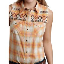 Roper Five Star Tupelo Honey Plaid Western Shirt - Button Front, Sleeveless (For Women) in Orange - Closeouts