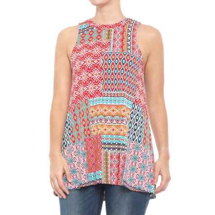 Roper Floral Aztec Patch Print Tank Top (For Women) in Red - Closeouts