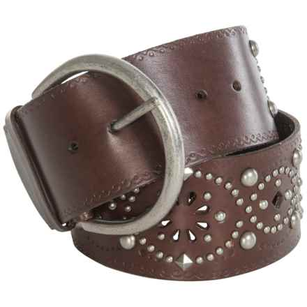 Roper Floral Cutout Leather Belt (For Women) in Brown - Closeouts