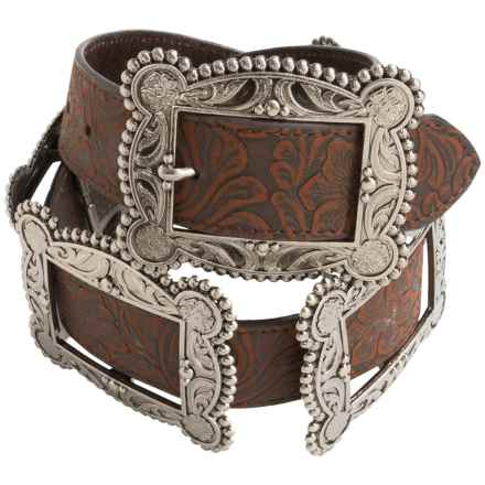 Roper Floral Embossed Multi-Buckle Belt - Leather (For Women) in Brown - Closeouts