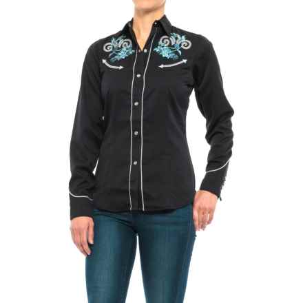 Roper Floral Embroidery Western Shirt - Snap Front, Long Sleeve (For Women) in Black - Closeouts