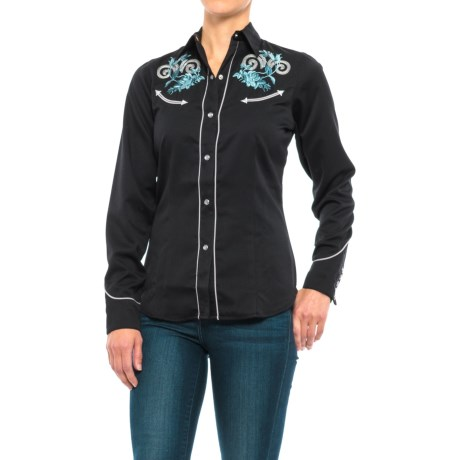 Roper Floral Embroidery Western Shirt - Snap Front, Long Sleeve (For Women) in Black