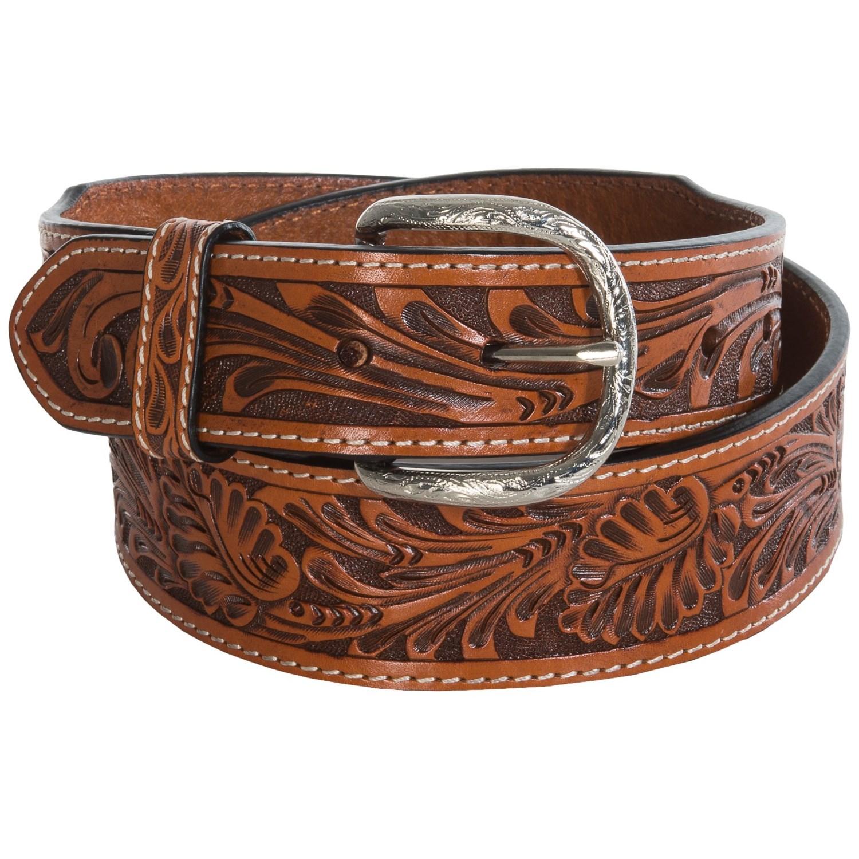 roper floral tooled top grain leather belt for