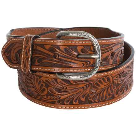 Roper Floral Hand-Tooled Top-Grain Leather Belt (For Men) in Cognac - Closeouts