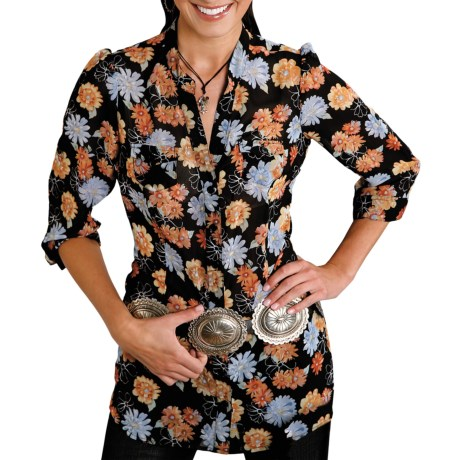 Roper Floral Print Georgette Tunic Shirt - 3/4 Sleeve (For Women) in Black