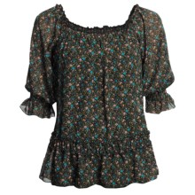 Roper Floral-Print Shirt - Scoop Neck, Short Sleeve (For Women) in Black - Closeouts