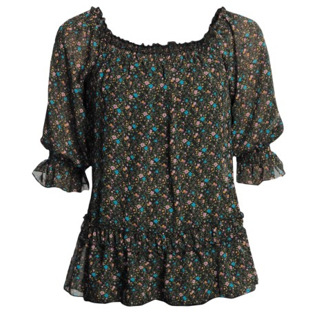 Roper Floral-Print Shirt - Scoop Neck, Short Sleeve (For Women) in Black