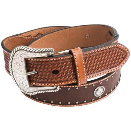 Roper Fold-Over Edge Leather Belt - Contrast Stitching (For Men) in Tan/Brown - Closeouts