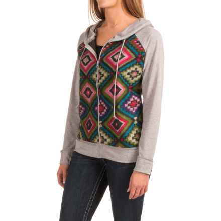 Roper French Terry Aztec Hoodie (For Women) in Grey - Closeouts