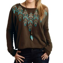Roper French Terry Crop Top - Long Sleeve (For Women) in Brown - Closeouts