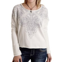 Roper French Terry Crop Top - Long Sleeve (For Women) in White - Closeouts