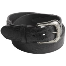 Roper Gator Tail Print Belt - Leather (For Men) in Black - Closeouts