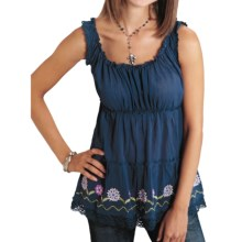 Roper Gauze Peasant Blouse - Crewel Trim, Sleeveless (For Women) in Navy - Closeouts