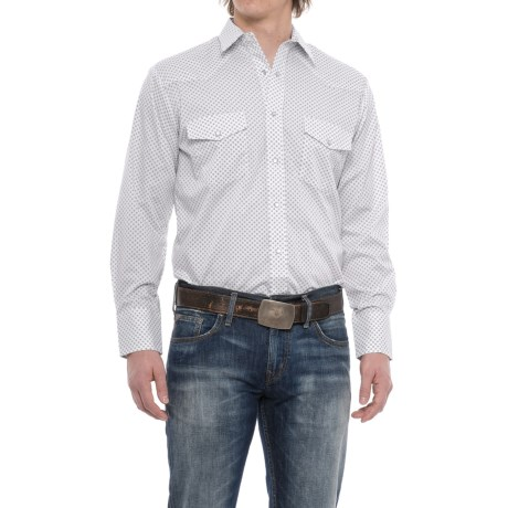 Roper Geo Print Western Shirt - Snap Front, Long Sleeve (For Men) in Navy Diamond