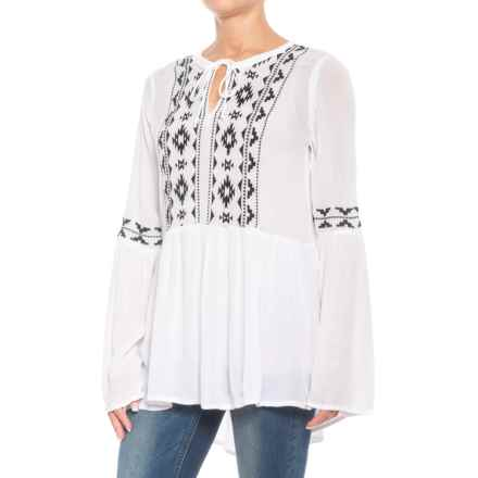 Roper Geometric Embroidered Peasant Top - Long Sleeve (For Women) in White - Closeouts