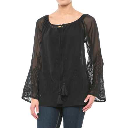 Roper Georgette Chiffon Peasant Blouse - Semi-Sheer, Long Sleeve (For Women) in Black - Closeouts