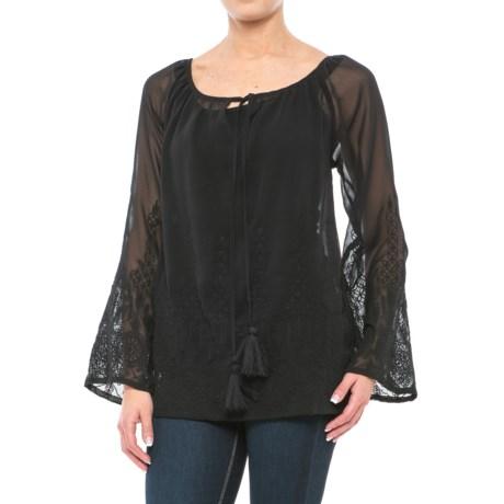 Roper Georgette Chiffon Peasant Blouse - Semi-Sheer, Long Sleeve (For Women) in Black