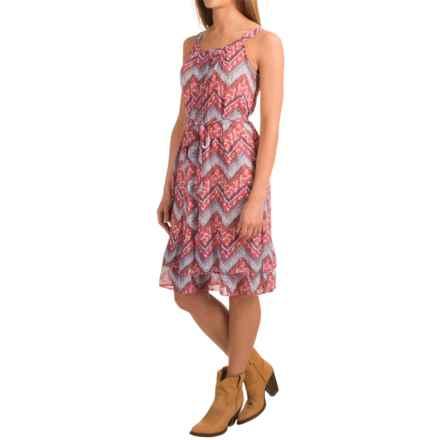 Roper Georgette Zigzag Print Dress - Sleeveless (For Women) in Orange - Closeouts
