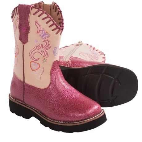Roper Glitter Vamp Western Boots - Side Zip, Square Toe (For Toddlers) in Fuschia