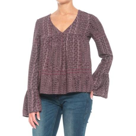 Roper Grapevine Print Peasant Top - Long Sleeve (For Women) in Purple