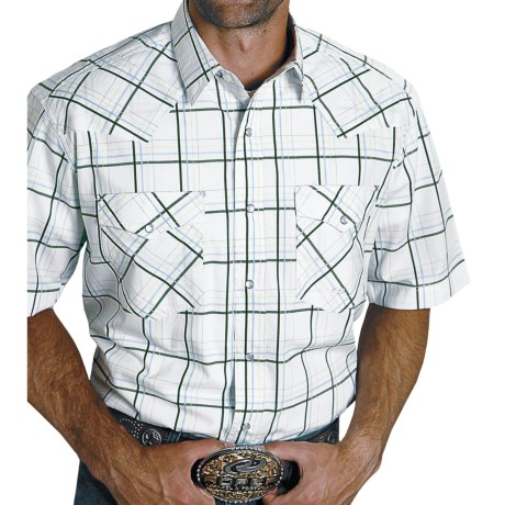 Roper Green Gate Plaid Shirt - Short Sleeve (For Men) in Green
