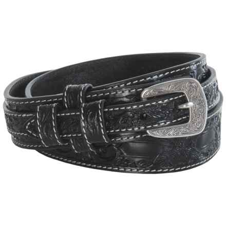 Roper Hand-Tooled Floral Leather Belt (For Men) in Black - Closeouts