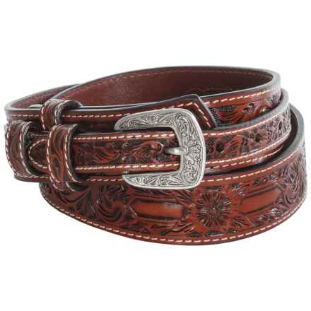 Roper Hand-Tooled Floral Leather Belt (For Men) in Cognac - Closeouts