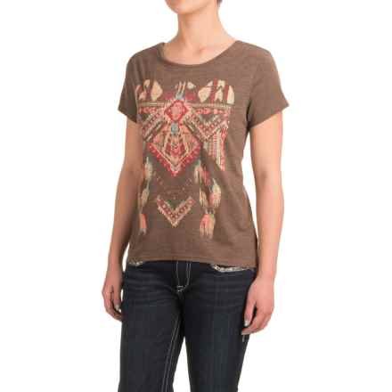 Roper Heather Jersey Slouchy T-Shirt - Short Sleeve (For Women) in Brown - Closeouts