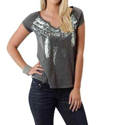 Roper Heather Jersey T-Shirt - Split Neck, Short Sleeve (For Women) in Grey - Closeouts
