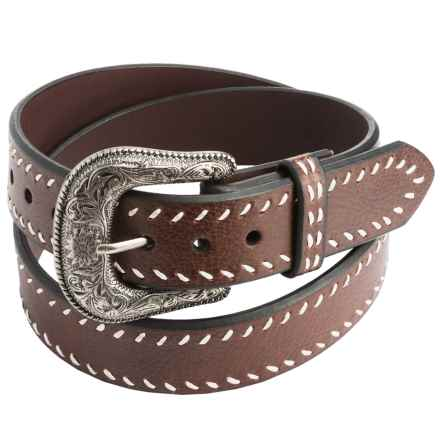 Roper Heavy Contrast-Corded Edging Leather Belt (For Men) in Brown - Closeouts