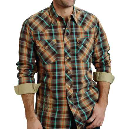 Roper High-Performance Plaid Shirt - Snap Front, Long Sleeve (For Men) in Brown Scritch Plaid - Closeouts
