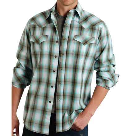 Roper High-Performance Plaid Shirt - Snap Front, Long Sleeve (For Men) in Green Plaid - Closeouts