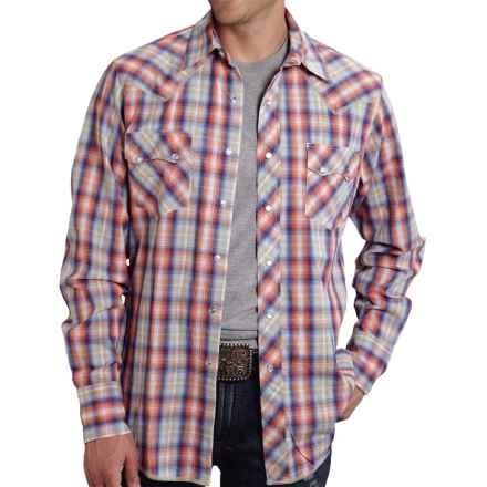Roper High-Performance Plaid Shirt - Snap Front, Long Sleeve (For Men) in Orange Sunset Plaid - Closeouts