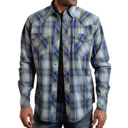 Roper High-Performance Western Plaid Shirt - Snap Front, Long Sleeve (For Men) in Blue Rocket Plaid - Closeouts
