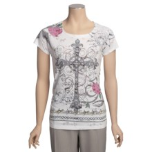 Roper Horse Burnout Sublimation Shirt - Short Sleeve (For Women) in White - Closeouts