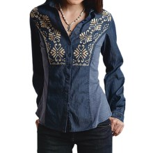 Roper Indigo Denim Shirt - Long Sleeve (For Women) in Blue - Closeouts
