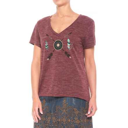 Roper Jersey Screenprint Shirt - V-Neck, Short Sleeve (For Women) in Wine - Closeouts