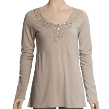 Roper Jersey Shirt - Embellished, Long Sleeve (For Women) in Brown - Closeouts