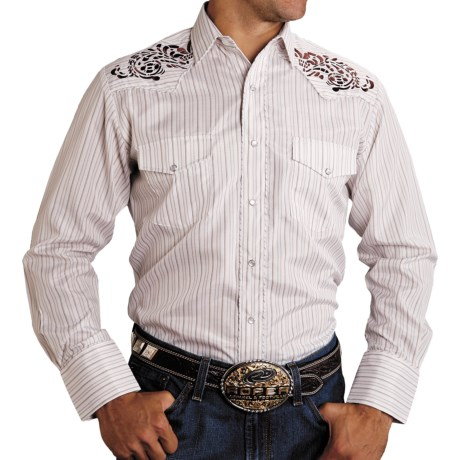 Roper Karman Classic Detailed Stitch Shirt - Snap Front, Long Sleeve (For Men) in Brown