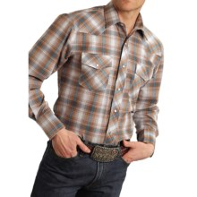Roper Karman Classic Metallic Plaid Shirt - Snap Front, Long Sleeve (For Men and Big Men) in Brown/Turquoise - Closeouts