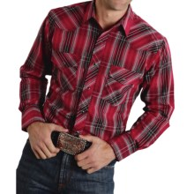 Roper Karman Classic Metallic Plaid Shirt - Snap Front, Long Sleeve (For Men and Big Men) in Red/Black - Closeouts