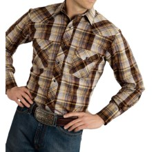 Roper Karman Classic Metallic Plaid Shirt - Snap Front, Long Sleeve (For Men and Big Men) in Tobacco - Closeouts
