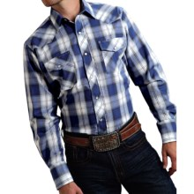 Roper Karman Classic Plaid Shirt - Snap Front, Long Sleeve (For Men and Big Men) in Blue/White - Closeouts