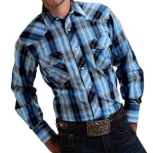 Roper Karman Classic Plaid Shirt - Snap Front, Long Sleeve (For Men and Big Men) in Light Blue/Dark Blue - Closeouts