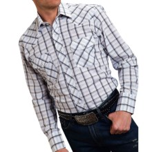 Roper Karman Classic Plaid Shirt - Snap Front, Long Sleeve (For Men and Big Men) in Linear Black - Closeouts