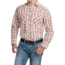 Roper Karman Classic Plaid Shirt - Snap Front, Long Sleeve (For Men and Big Men) in Orange/Navy - Closeouts
