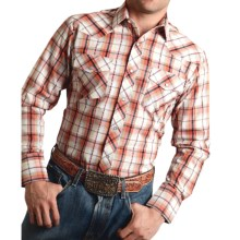 Roper Karman Classic Plaid Shirt - Snap Front, Long Sleeve (For Men and Big Men) in Orange - Closeouts