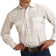 Roper Karman Classic Stripe Shirt - Snap Front, Long Sleeve (For Men and Big Men) in Tan Tonal/Lurex - Closeouts