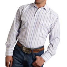 Roper Karman Classic Stripe Shirt - Snap Front, Long Sleeve (For Tall Men) in Purple - Closeouts
